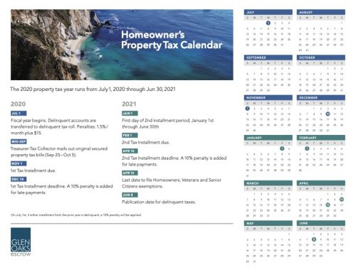 Homeowner's 2020-2021 Property Tax Calendar